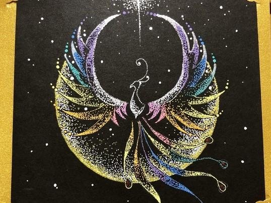 ご縁の広がる鳳凰の絵を使い点描画を描こう。の画像