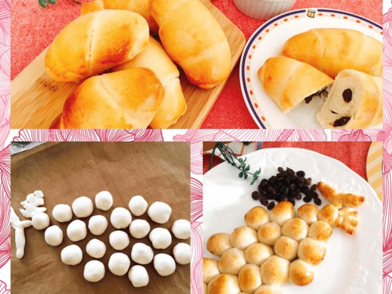 ホシノ酵母で作る レーズンロール&葡萄の形の葡萄パン の画像