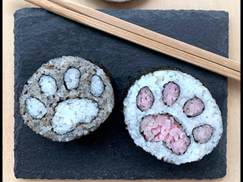 猫ちゃんの可愛い肉球の巻き寿司!色を選び&オリジナルのレシピ制作もの画像