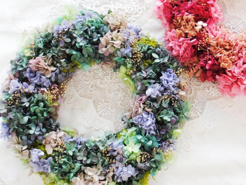 🌈色が選べる!紫陽花リース手作り教室の画像