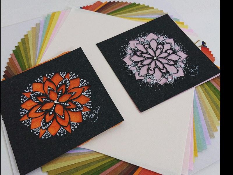 和紙の着せ替え自由自在♪和紙と切り絵のモダン曼荼羅アート♪の画像