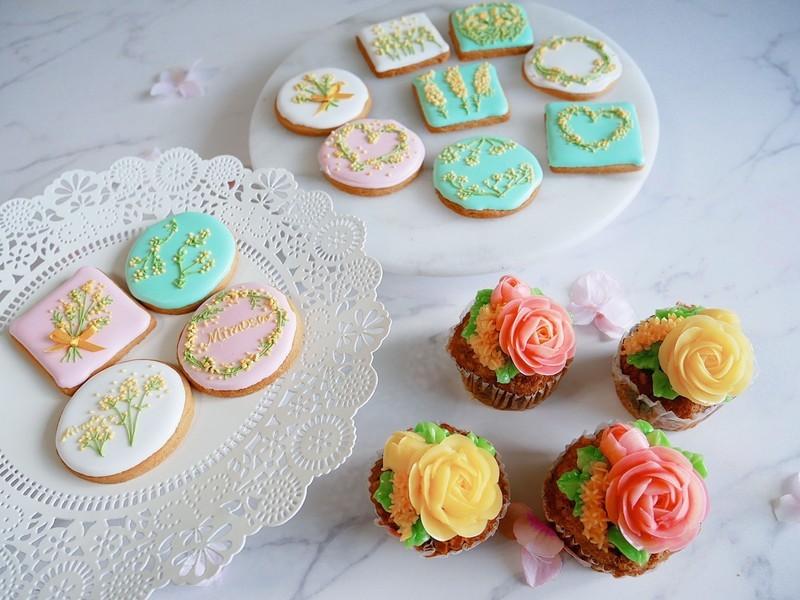ミモザのアイシングクッキーとフラワーケーキワークショップの画像