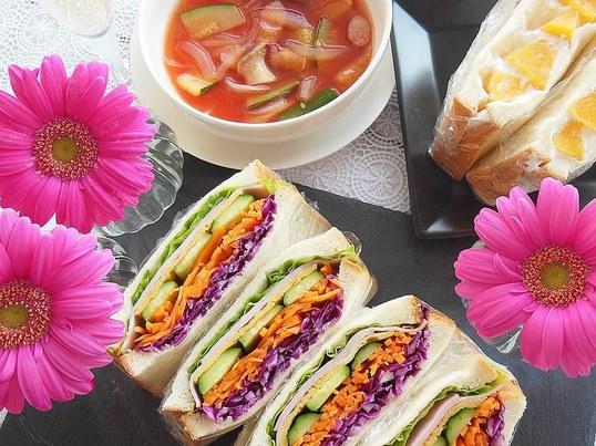 カラフル野菜でわんぱくサンドとフルーツサンド作り☆の画像