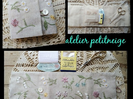 刺繍ワークショップ パステルflowersソーイングセットケースの画像
