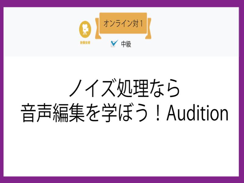 【オンライン対1】ノイズ処理なら音声編集を学ぼう!Auditionの画像