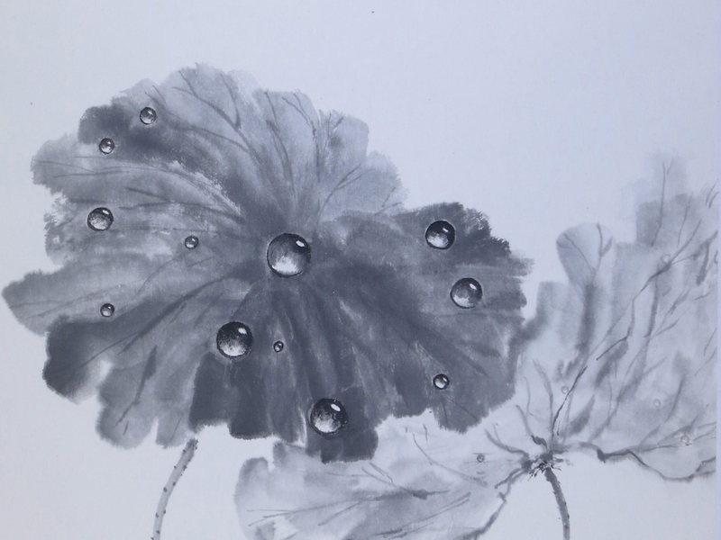 【オンライン教室】 水墨画経験者向け 「蓮に水滴を描く」の画像