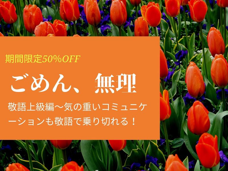 期間限定50%OFF【オンライン】お願いや断りも楽々!敬語上級編の画像