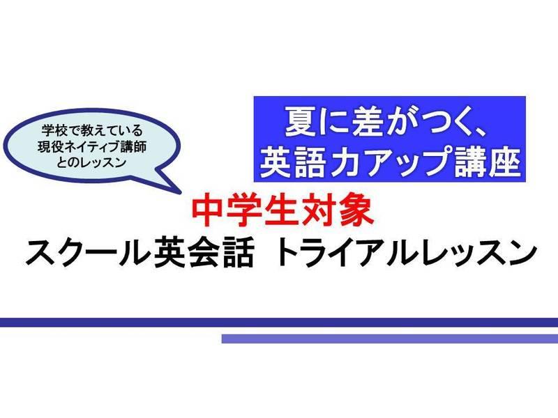 2回完結 中学生対象現役ALTが教えるスクール英会話(トライアル)の画像