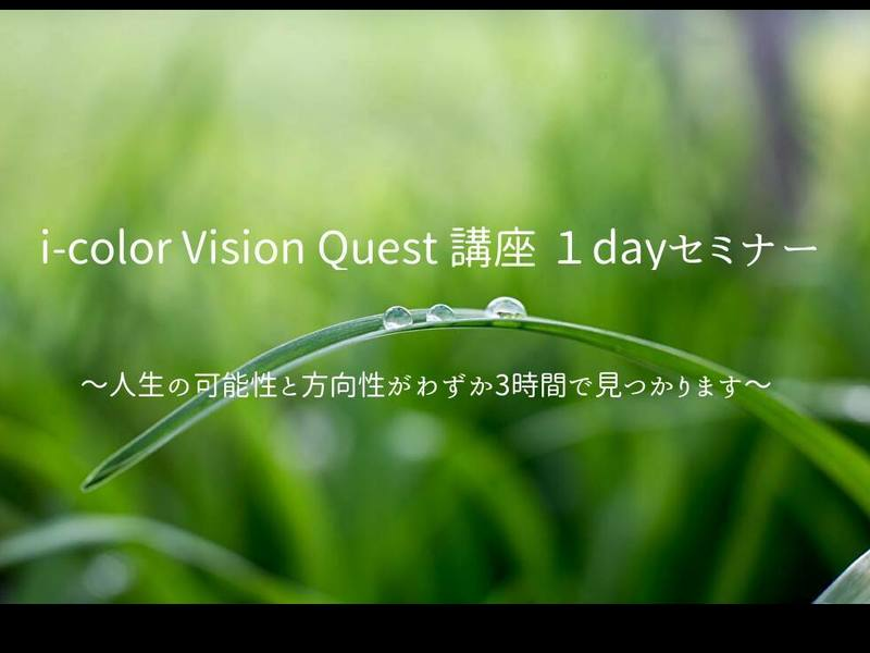 i-color Vision Quest 講座 1dayセミナーの画像