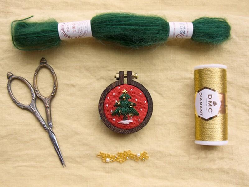 【オンライン】ミニ刺繍枠でクリスマスオーナメントを作ろうの画像