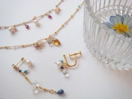 【自由が丘】鎖A / アコヤ真珠のイヤリング&押し花小物入れ作りの画像