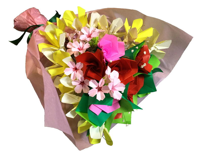 折り紙で作る花束~桜の花~☆オンライン講習会☆の画像