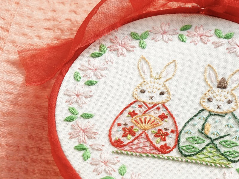オンライン【うさぎ雛の壁飾り】かわいい刺繍絵!(初級〜中級)の画像