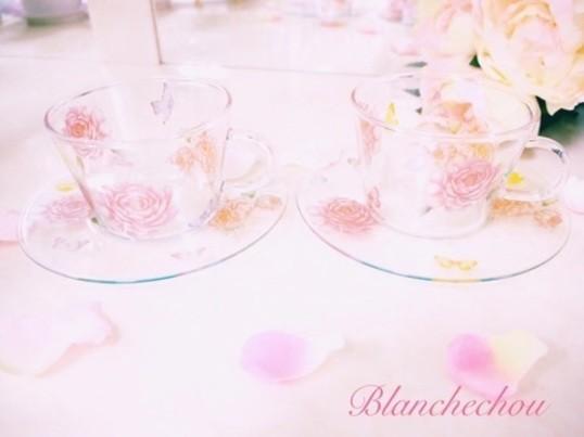 夏期限定バタフライ舞うガラスのカップ&ソーサーの画像