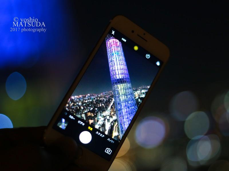 初心者向け撮影セミナー・東京スカイツリー夜景撮影。光跡と玉ボケ撮影の画像