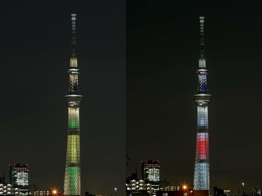 特別ライティングの東京スカイツリーを撮る夕景夜景撮影の画像