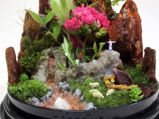 1月25日池袋。ハコニワジオラマ(箱庭盆景)作り方体験教室の画像