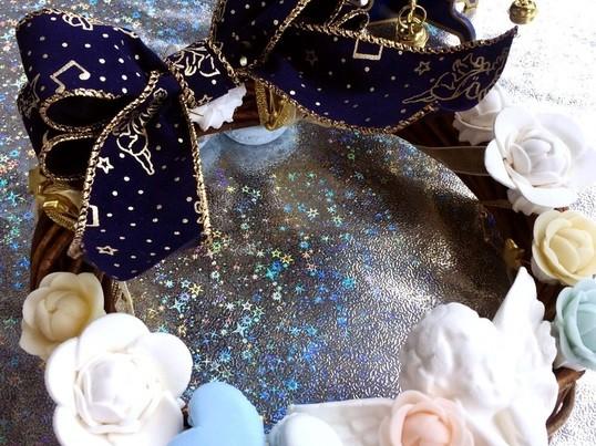 クリスマスにも☆カフェのスイーツ付き♡粘土とリボンで作る大人リースの画像