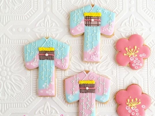 和のアイシングクッキー「着物」「和柄」の画像