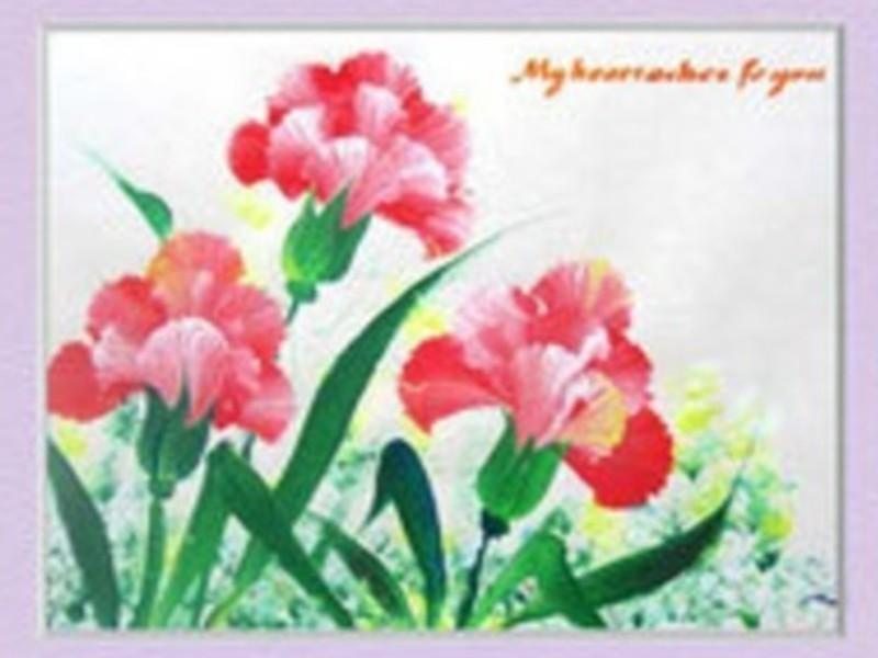 サッと花を描く、ブラシストローク体験の画像