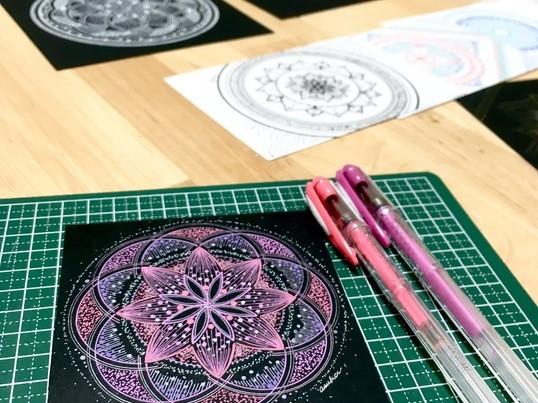 無心になってストレス解消!誰でも描けるはじめての楽描き曼荼羅アートの画像