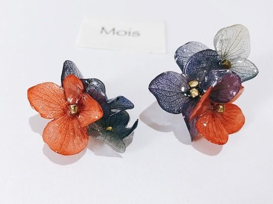 《レジン》〜ガラスのような大人紫陽花の耳飾り〜の画像