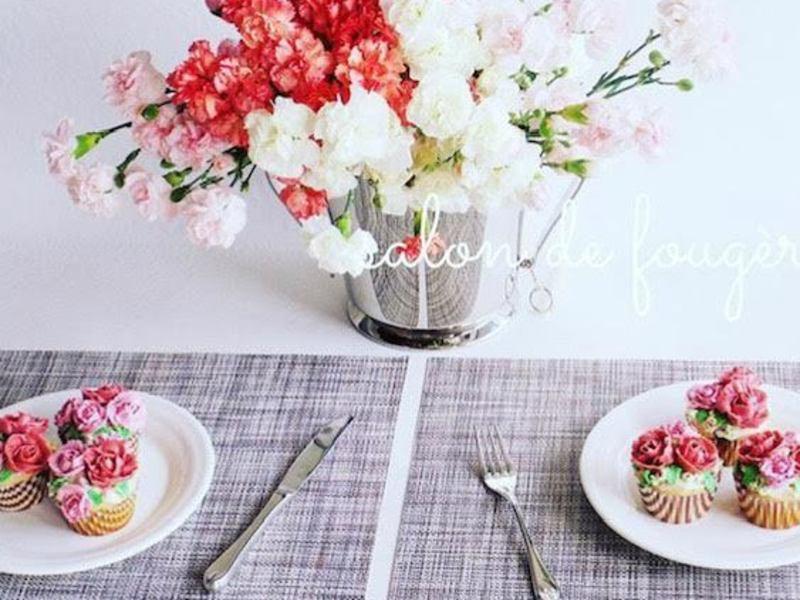バレンタインのフラワーカップケーキレッスンの画像