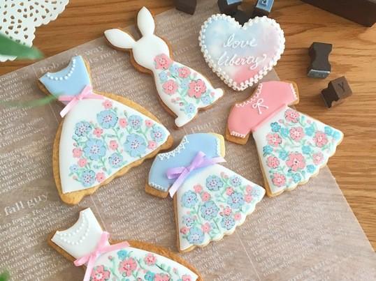 リバティプリントのアイシングクッキーレッスンの画像
