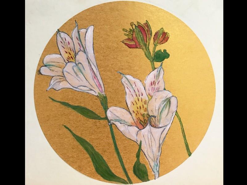 日本画材でお花を描こう(墨・顔彩・岩絵の具 )①・②の画像