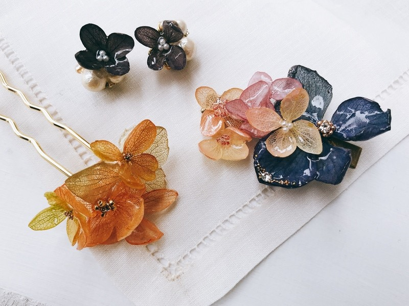 《夏限定レジン》紫陽花とパールの涼やかレジンアクセサリーの画像