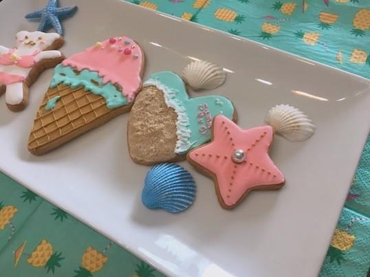 コーラルピンクとミントブルーでつくる夏のアイシングクッキー☆の画像