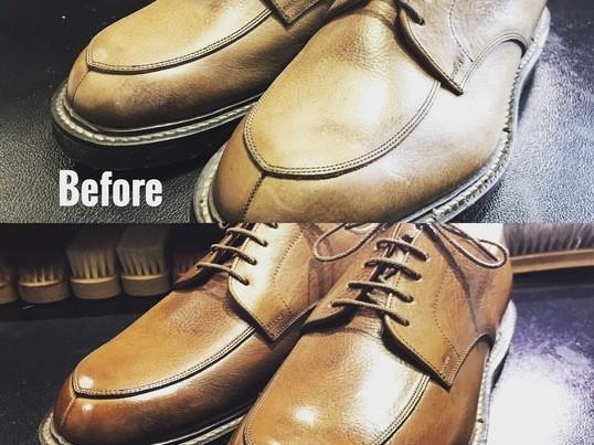 SAPHIRシューケアトレーナーによる本格靴磨きの画像