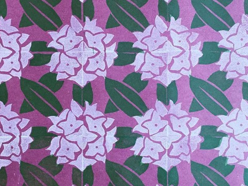 消しゴムはんこパターンで作る春の千代紙講座の画像