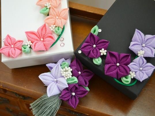 つまみ細工で和文化体験♪紫陽花モチーフの飾りを作ろうの画像