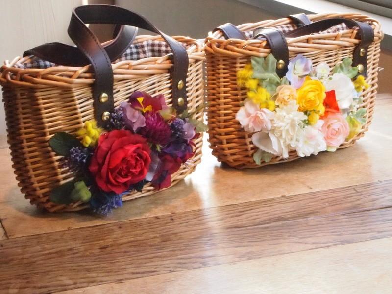【初心者歓迎】お花の籠バック小の画像