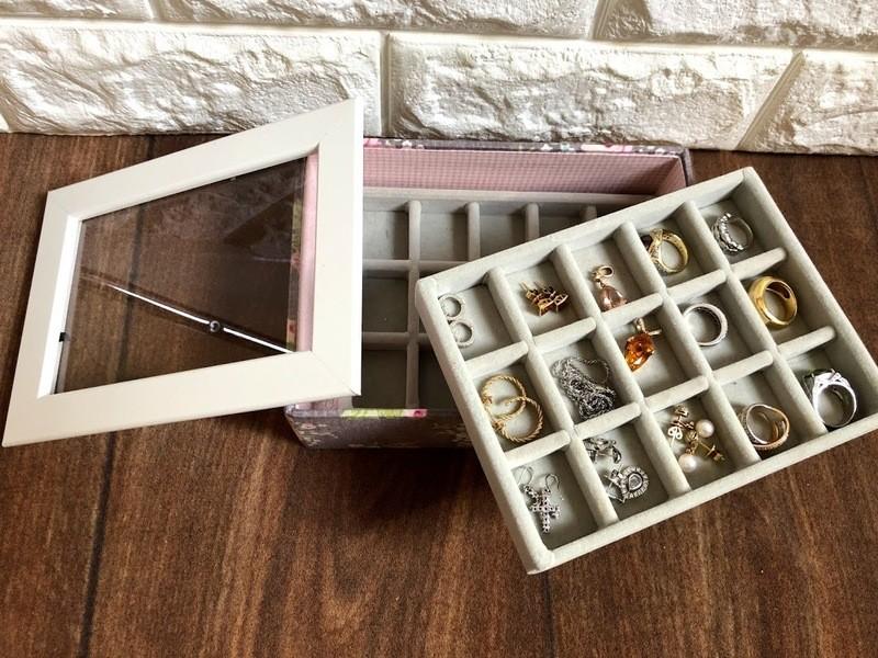 簡単カルトナージュ・白いふたのアクセサリーボックスの画像