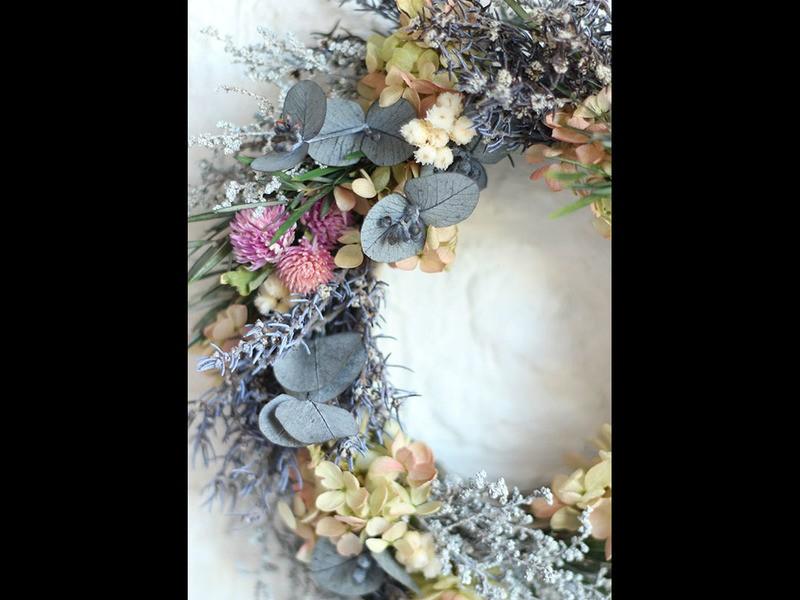 プリザ・アジサイのハーバルリースの画像