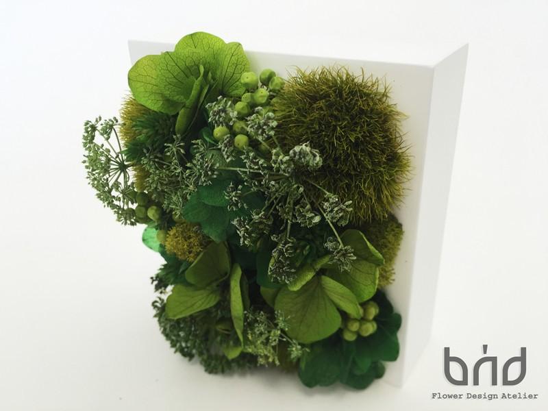 【BUD父の日レッスン】グリーン色植物のフラワーフレームの画像