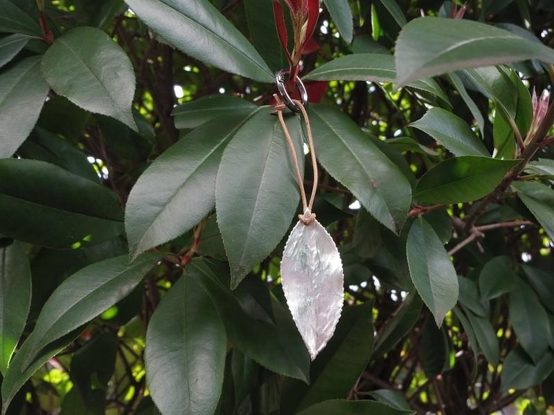 葉っぱでシルバーアクセサリー作りの画像