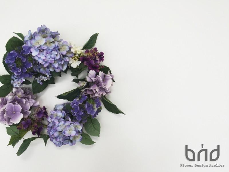 BUDフラワーレッスン2019年6月「雨音あじさいリース」の画像