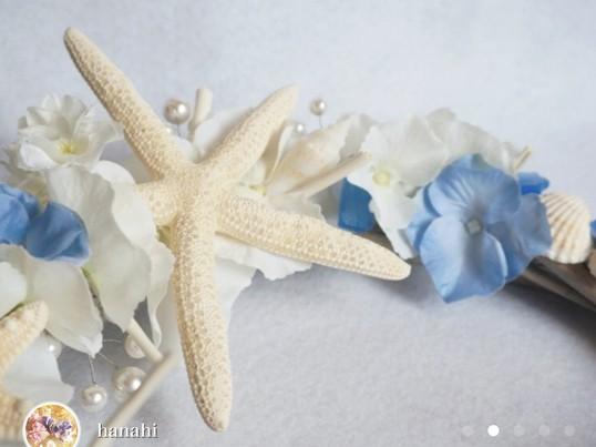 【夏限定・初心者歓迎】爽やかな貝とお花のサマーリースの画像