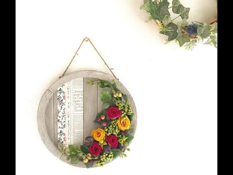バラの壁掛け/ウッドサークルボードの画像