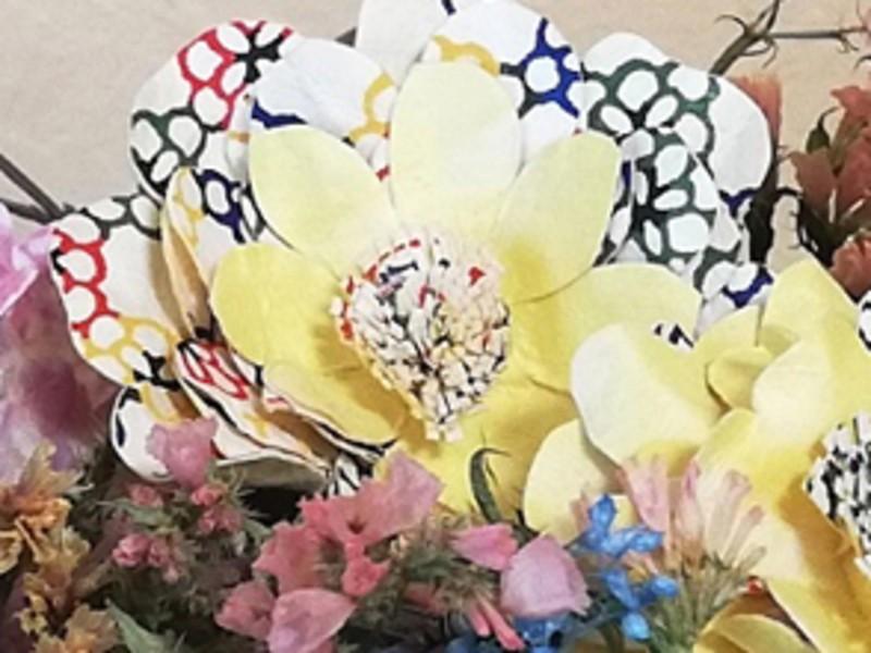 アートおり花かみで親子で簡単「フラワーバスケットを作ろう🎶」の画像