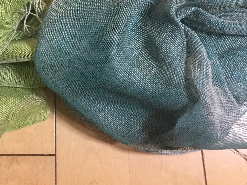 【夏限定】リネンのスクエアマフラーを織るWS♫ 初心者もOK!の画像