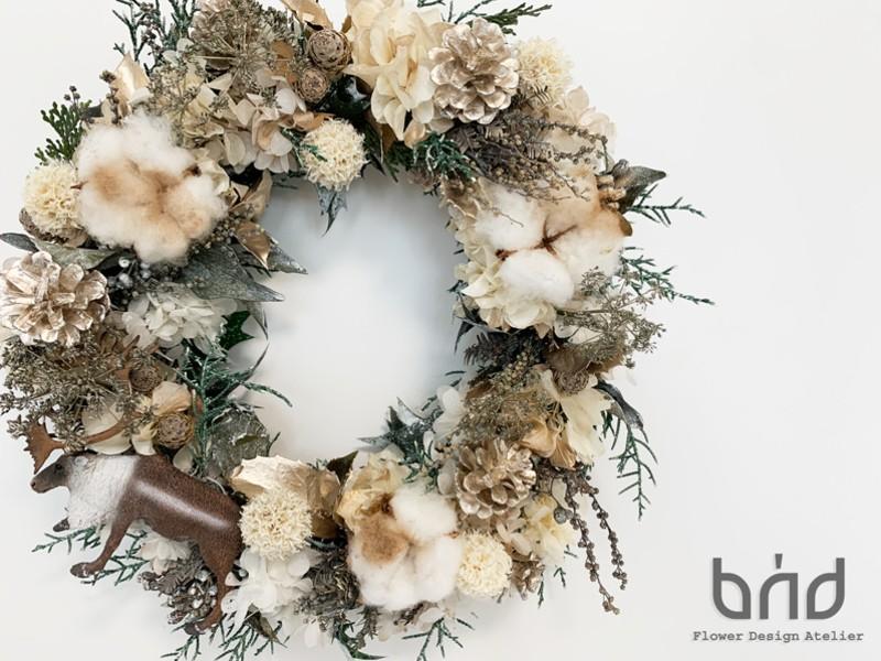 【BUDクリスマスレッスン/2019】雪国の冒険 Xmasリースの画像