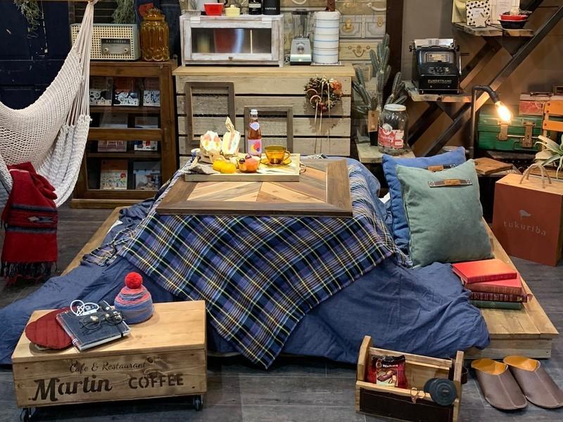 ほっこり冬のおうちカフェ①こたつ風ヘリンボーン天板の画像