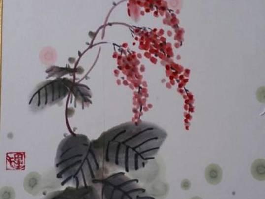 銀座で初心者向けリレー水墨画の画像
