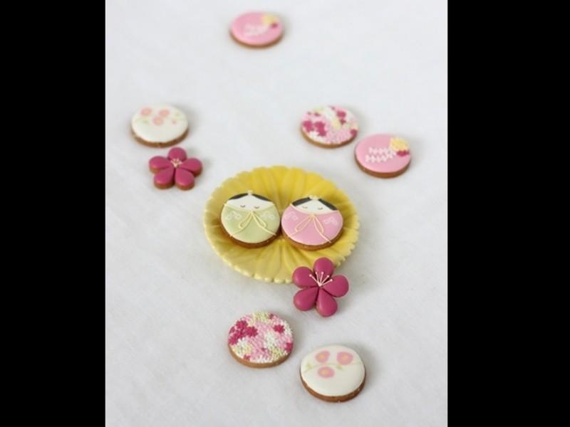 おひな様の可愛いアイシングクッキーの画像