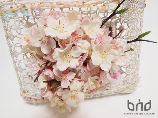 BUDフラワーレッスン2016年4月春薫る桜フレームアレンジメントの画像
