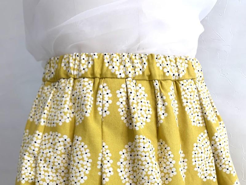 北欧柄で縫うおなか周りがスッキリな簡単ギャザースカートの画像